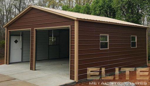 24x26-Earth-Brown-Metal-Garage-2