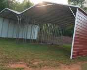 Red-double-wide-metal-a-frame-carport with white trim