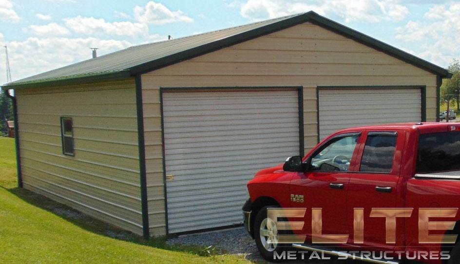22 Wx31 Lx9 H Double Car Metal Garage Elite Metal Structures