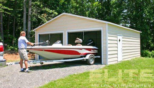 Metal-Garage-Building-boat-cover-storage-double-door-pebble-beige