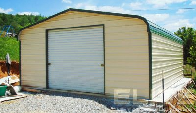 Metal-Storage-Building-Single-Garage-18x21x8-Pebble-Beige